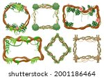 jungle liana frames. rainforest ... | Shutterstock .eps vector #2001186464