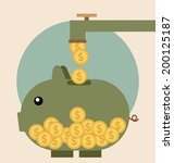 piggy bank with coin over it.... | Shutterstock .eps vector #200125187
