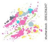 gouache paint stains grunge... | Shutterstock .eps vector #2001256247