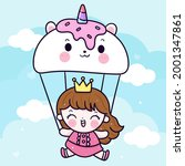 little princess happy with... | Shutterstock .eps vector #2001347861