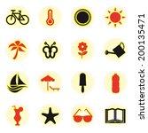 summer icons set.    Shutterstock .eps vector #200135471