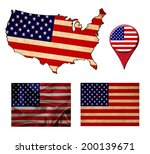 usa flag  map and map pointers  | Shutterstock . vector #200139671