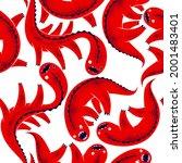 scary horror monsters seamless...   Shutterstock .eps vector #2001483401