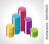 3d colorful cylinders graph... | Shutterstock .eps vector #200149631