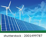 solar panels and wind turbines ... | Shutterstock .eps vector #2001499787