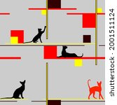 cats in different poses ... | Shutterstock .eps vector #2001511124