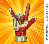 cool horns hand gesture  ... | Shutterstock .eps vector #2001517157