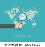 hand holding magnifying glass... | Shutterstock .eps vector #200155127