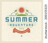 summer holidays vector... | Shutterstock .eps vector #200155325