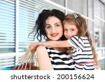 happy mom and daughter with... | Shutterstock . vector #200156624