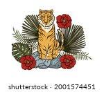 jungle cartoon tropical bengal... | Shutterstock .eps vector #2001574451