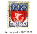Paris City Coat of Arms Postage Stamp - stock photo