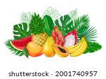 tropical leaves with exotic... | Shutterstock .eps vector #2001740957