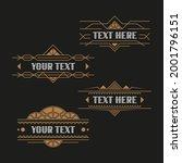 set of retro art deco ornate... | Shutterstock .eps vector #2001796151
