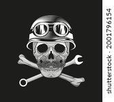 skull in retro helmet with... | Shutterstock .eps vector #2001796154