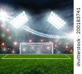 soccer ball on green stadium... | Shutterstock . vector #200183741