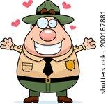 a happy cartoon park ranger... | Shutterstock .eps vector #200187881