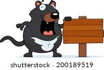 A cartoon Tasmanian devil with a wooden sign.