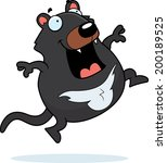 A happy cartoon Tasmanian devil jumping and smiling.