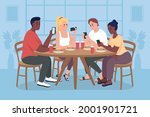 students on mobile phones flat...   Shutterstock .eps vector #2001901721