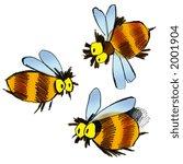 cartoon illustration of three... | Shutterstock . vector #2001904
