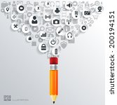 pencil icon. flat abstract... | Shutterstock .eps vector #200194151
