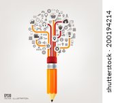 pencil icon. flat abstract...