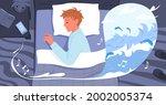 cartoon sleepy guy character in ... | Shutterstock .eps vector #2002005374