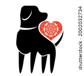 vector dog and red heart icon...   Shutterstock .eps vector #2002032734