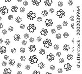 vector dog foot print seamless...   Shutterstock .eps vector #2002039964