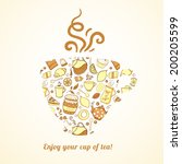 vector mug with tea pattern... | Shutterstock .eps vector #200205599
