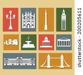 landmarks of united kingdom ... | Shutterstock .eps vector #200205611