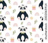 panda seamless pattern. cute...   Shutterstock . vector #2002065914