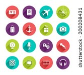 vector travel icons set in flat ... | Shutterstock .eps vector #200208431