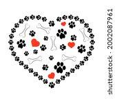 vector dog foot print pattern...   Shutterstock .eps vector #2002087961