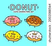 funny cute happy multicolored... | Shutterstock .eps vector #2002088564