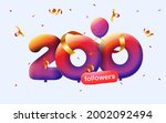 banner with 200 followers thank ... | Shutterstock .eps vector #2002092494