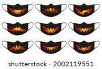 halloween pumpkin mask. face... | Shutterstock .eps vector #2002119551