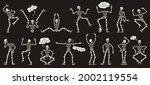 halloween skeletons. dancing... | Shutterstock .eps vector #2002119554