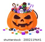 halloween pumpkin with candies. ... | Shutterstock .eps vector #2002119641
