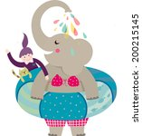 the view of elephant with child  | Shutterstock .eps vector #200215145