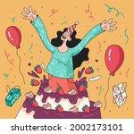 happy smiling woman girl...   Shutterstock .eps vector #2002173101