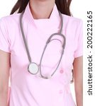 stethoscope with nurse isolated