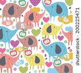 elephant love illustration  | Shutterstock .eps vector #200225471