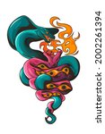 tattoo with snakes and eyes....   Shutterstock .eps vector #2002261394