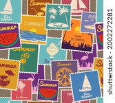 postage stamps seamless pattern ... | Shutterstock .eps vector #2002272281