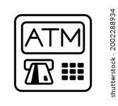 atm machine icon. atm thin line....   Shutterstock .eps vector #2002288934