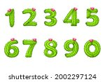 cartoon cactus with flower font ...