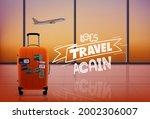 travel bag in airport interior... | Shutterstock .eps vector #2002306007