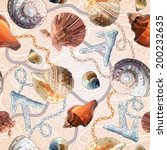 seamless pattern with shells... | Shutterstock .eps vector #200232635